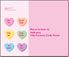 """3⅓"""" x 4"""" Étiquettes d'expédition - Bonbon en cœur de Saint-Valentin"""