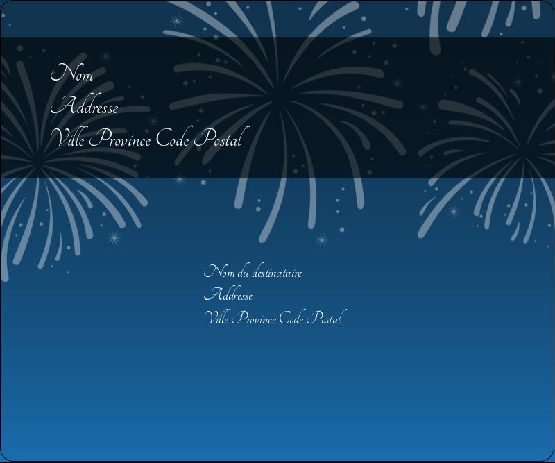 """3⅓"""" x 4"""" Étiquettes d'expédition - Feux d'artifice bleus du Nouvel An"""