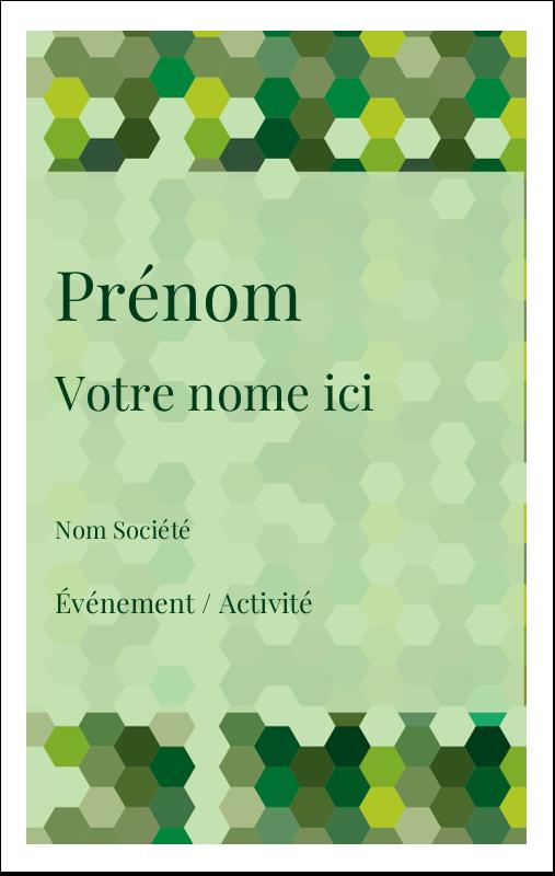 2¼ x 3½ Étiquettes badges autocollants - Hexagones verts