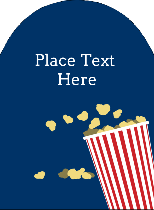 "4¾"" x 3½"" Arched Label - Movie Popcorn"
