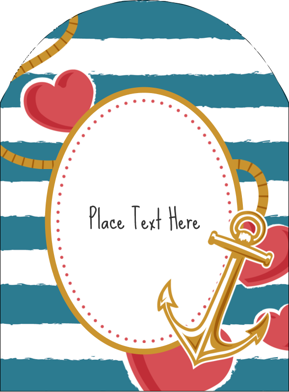 """4¾"""" x 3½"""" Arched Label - Valentine Anchor"""