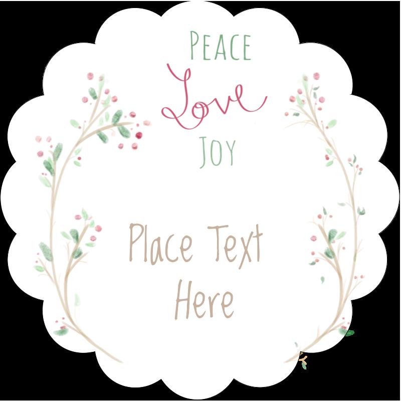 """2½"""" Scallop Labels - Peace Love Joy"""