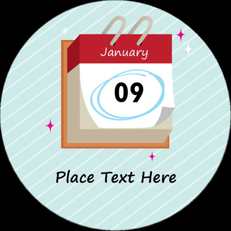 """2½"""" Round Label - Birthday Calendar"""