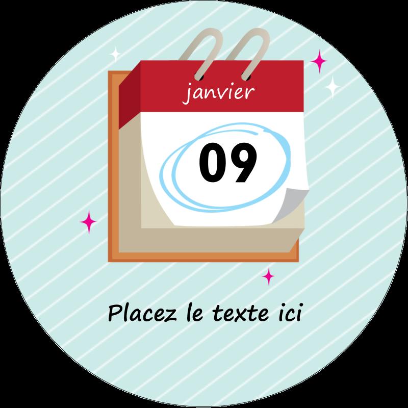 """2"""" Diameter Étiquettes rondes - Calendrier d'anniversaire"""