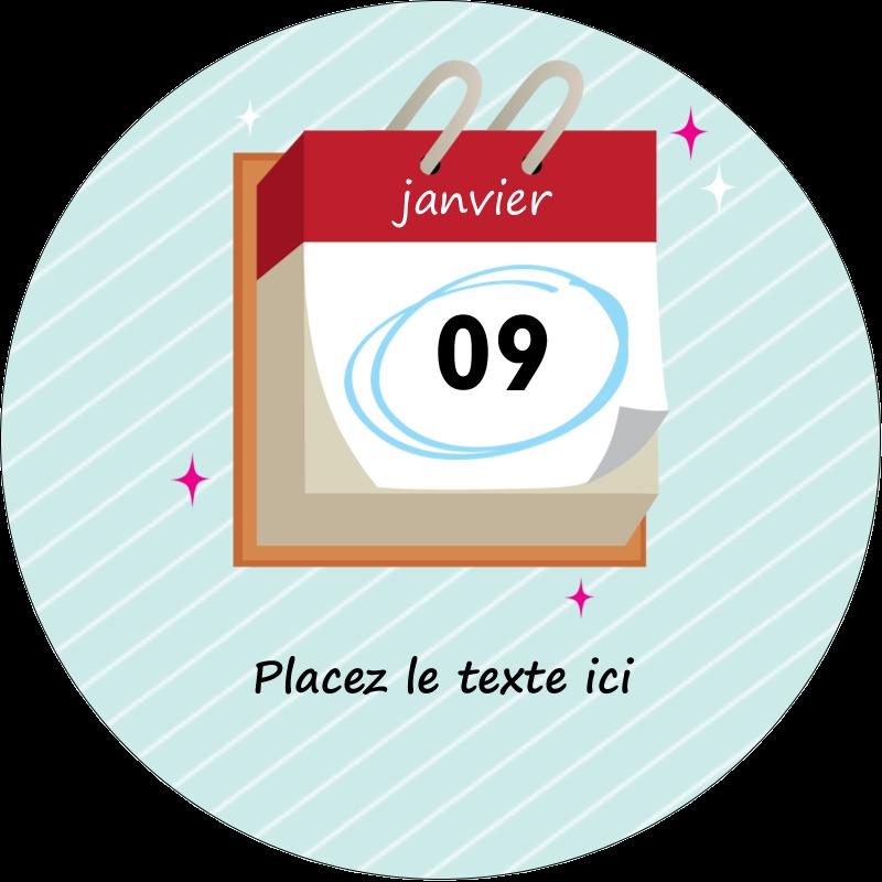 """2½"""" Diameter Étiquettes rondes - Calendrier d'anniversaire"""
