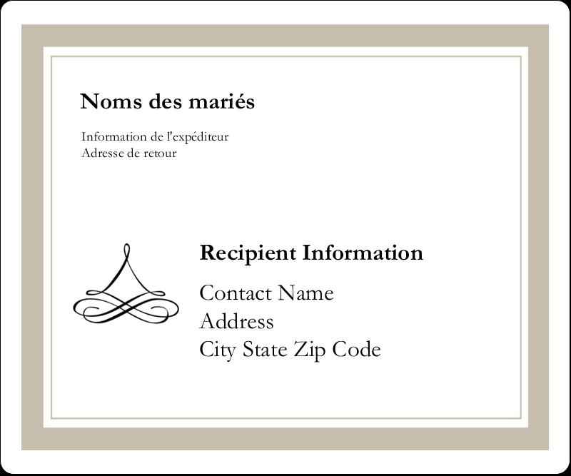 """3⅓"""" x 4"""" Étiquettes d'expédition - Mariage simple"""