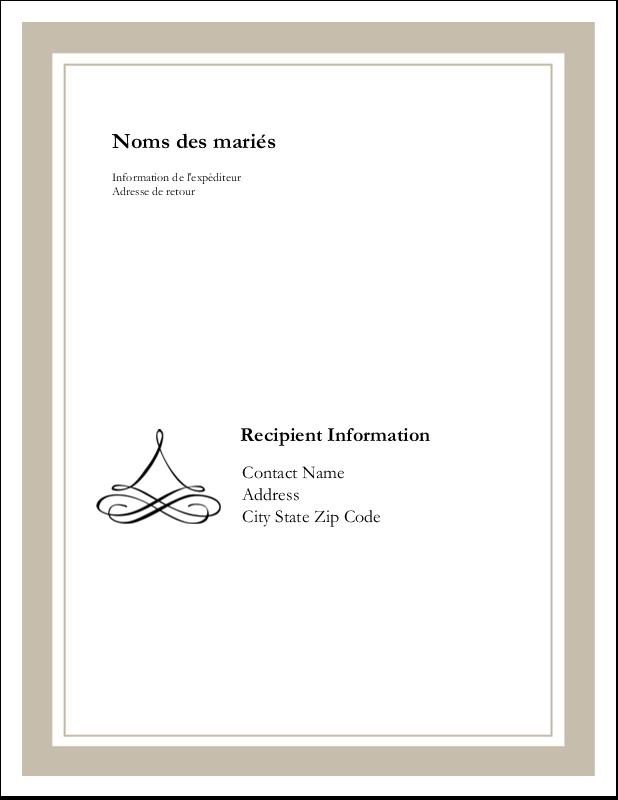 """11"""" x 8½"""" Étiquettes d'expéditions - Mariage simple"""