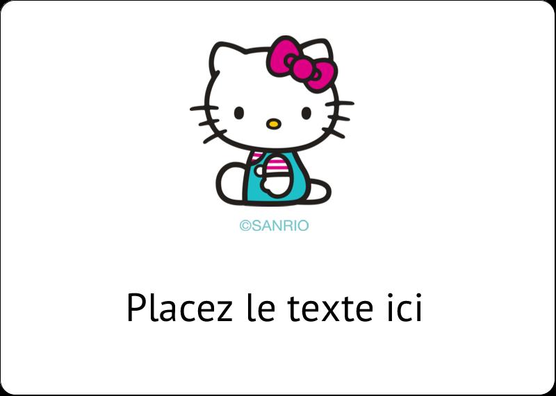 """1¾"""" x 1¼"""" Étiquettes D'Identification - Fête Hello Kitty"""