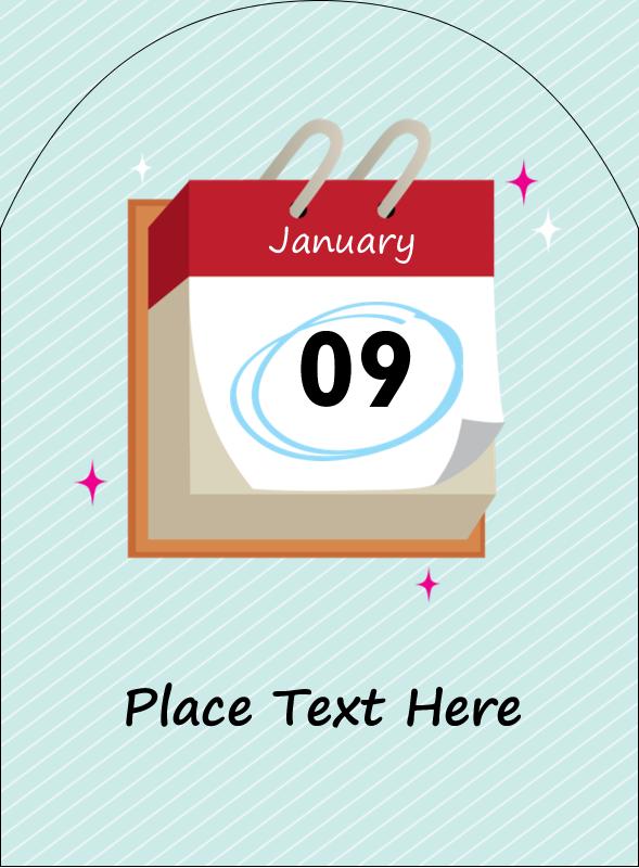 """4¾"""" x 3½"""" Arched Label - Birthday Calendar"""