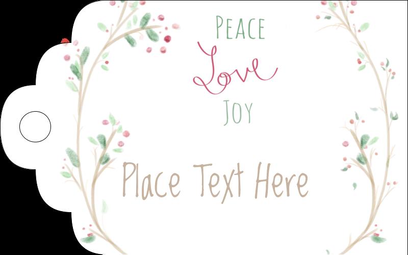 "2"" x 1⅛"" Printable Tags - Peace Love Joy"
