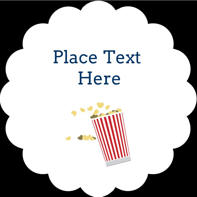 "2"" Scallop Oval Label - Movie Popcorn"