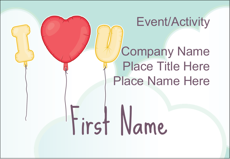 "3⅜"" x 2⅓"" Name Badge - Valentine Balloon Love"