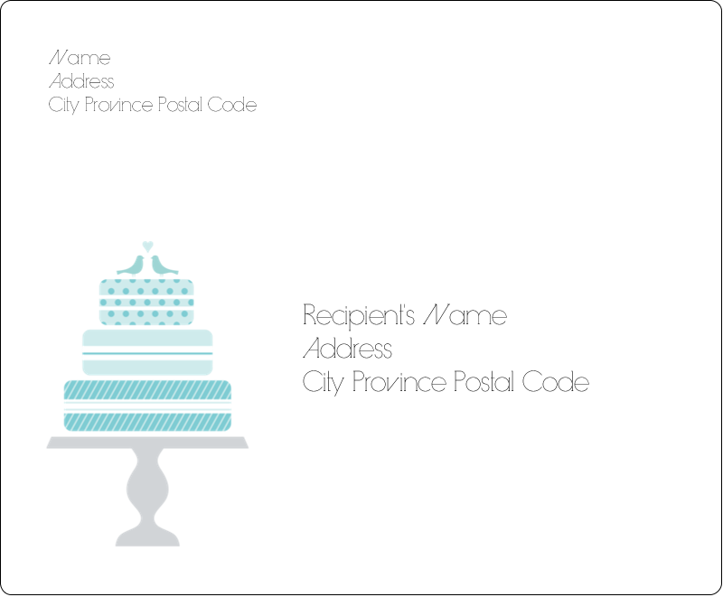 """3⅓"""" x 4"""" Shipping Label - Blue Wedding Cake Bird Toppers"""