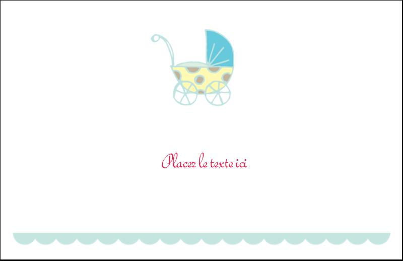 """5½"""" x 8½"""" Cartes de souhaits pliées en deux - Poussette pour bébé avec tons bleus"""