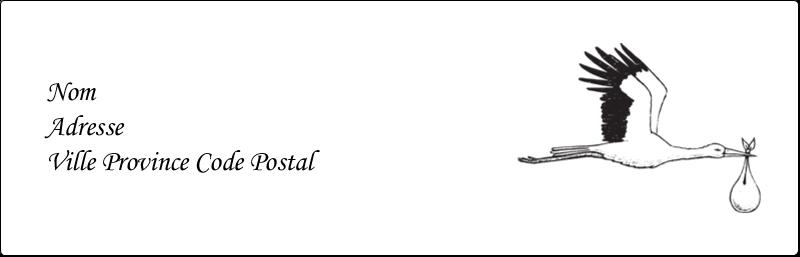 """1⅛"""" x 3½"""" Étiquettes Thermiques - Cigogne et bébé d'antan"""