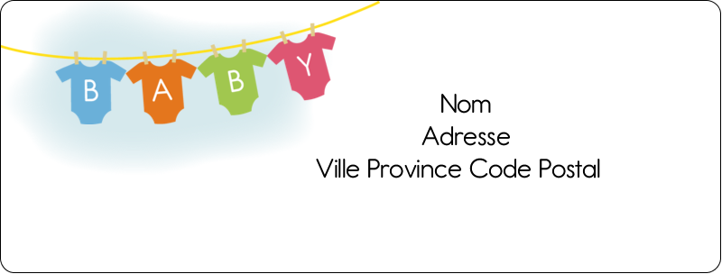 """1"""" x 2⅝"""" Étiquettes d'adresse - Combinaisons pour bébé"""