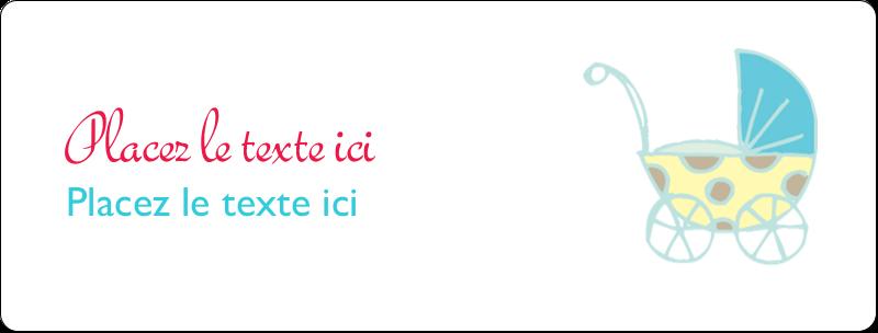"""1"""" x 2⅝"""" Étiquettes d'adresse - Poussette pour bébé avec tons bleus"""