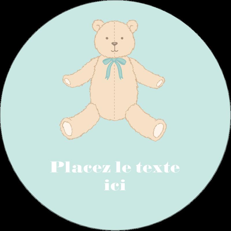 """1½"""" Diameter Étiquettes Voyantes - Nounours pour bébé"""