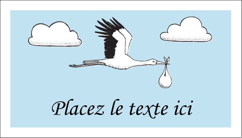 """2"""" x 3½"""" Carte d'affaire - Cigogne et bébé d'antan"""