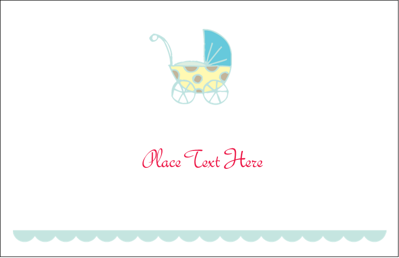"5½"" x 8½"" Greeting Card - Baby Stroller Blue"