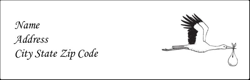 "1⅛"" x 3½"" Label Makers - Baby Vintage Stork"