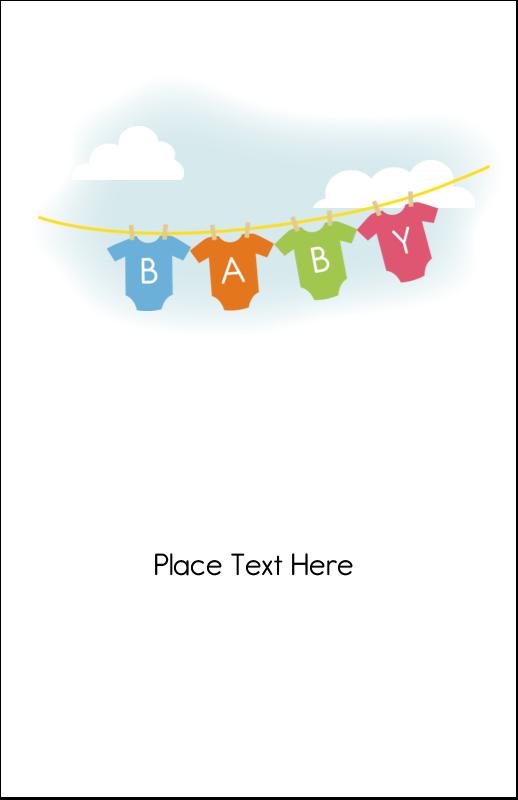 "5"" x 8½"" Half Fold Card - Baby Onesies"