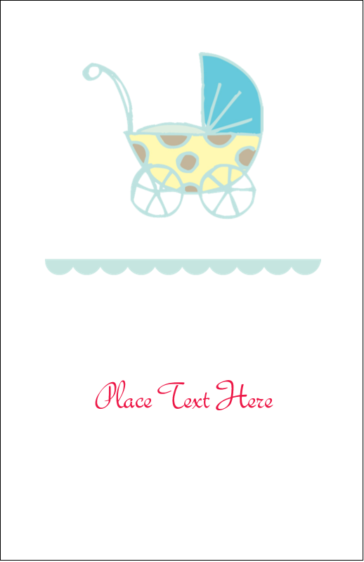 "5"" x 8½"" Half Fold Card - Baby Stroller Blue"