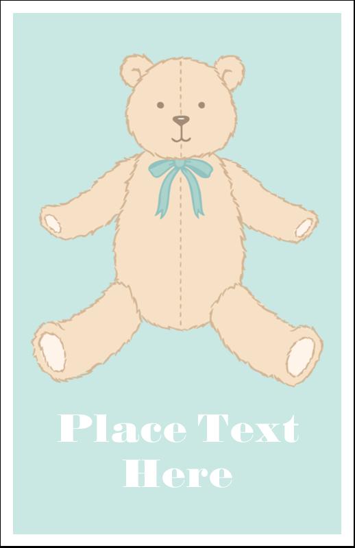 "5"" x 8½"" Half Fold Card - Baby Teddy Bear"