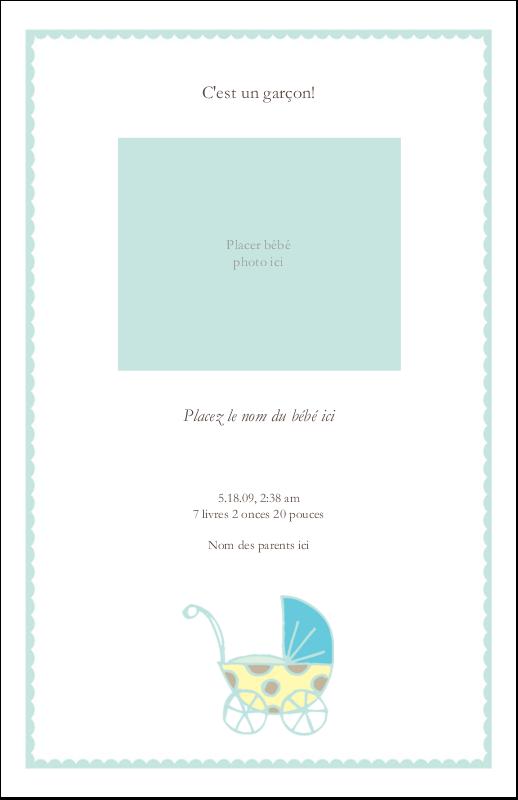 """8½"""" x 5"""" Cartes Et Articles D'Artisanat Imprimables - Poussette pour bébé avec tons bleus"""
