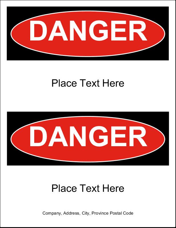 """8½"""" x 11"""" Industrial Label - Danger"""