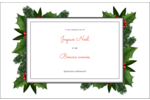 Bordure florale de Noël Cartes de souhaits pliées en deux - gabarit prédéfini. <br/>Utilisez notre logiciel Avery Design & Print Online pour personnaliser facilement la conception.