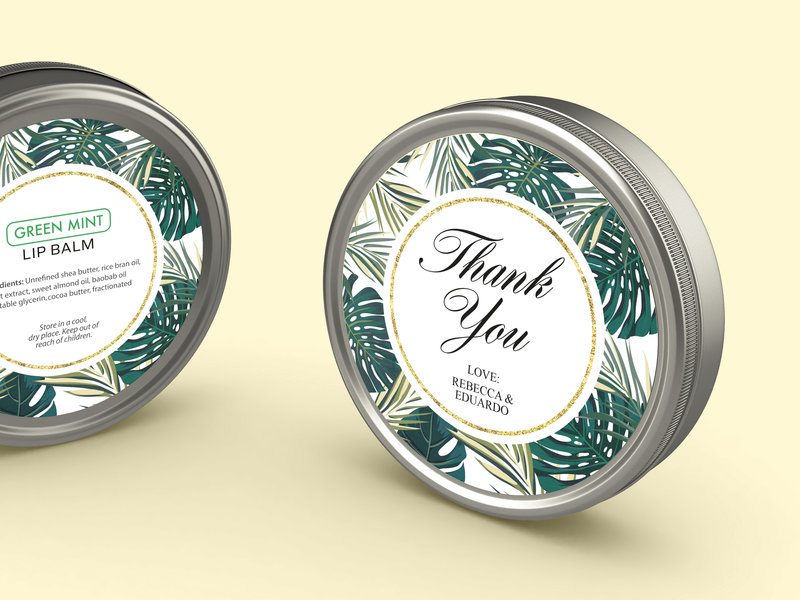Design and print wedding labels for containers