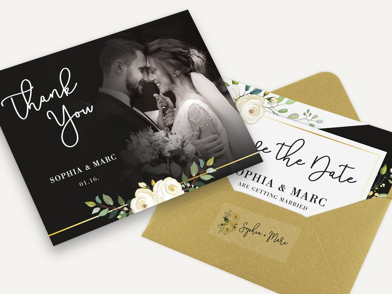 Wedding invitations, thank you, save the date cards